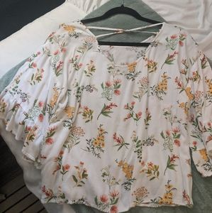 Forever 21 Tops - Flowy Bell sleeve Blouse with Criss-cross back